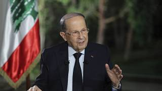 Lebanese President Michel Aoun speaks during a TV interview at the presidential palace, in Baabda, east of Beirut, Lebanon, Tuesday, Nov. 12, 2019.