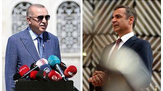 Il presidente turco Erdogan e il premier greco Mitsotakis