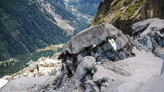 The Planpincieux glacier, Courmayeur village, Val Ferret, northwestern Italy.