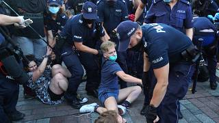 Dozens were arrested as they tried to stop the detention of an LGBT activist.