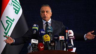مصطفى الكاظمي رئيس الوزراء العراقي خلال مؤتمر صحافي