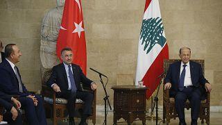 Cumhurbaşkanı Yardımcısı Fuat Oktay ve Dışişleri Bakanı Meclüt Çavuşoğlu Lübnan Cumhurbaşkanı Michel Aoun'la görüştü