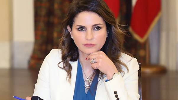 Minister of Information Manal Abdel Samad during an official meeting at the Grand Serail government headquarters in the capital Beirut, on April 24, 2020