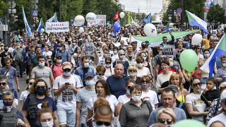 Detalle de la manifestación de este sábado en Jabárovsk