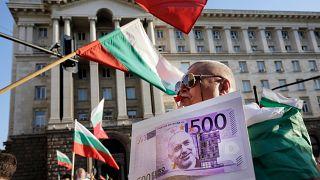Bulgaristan'ın başkenti Sofya'daki gösterilerden bir kare