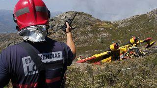 Detalle del hidroavión siniestrado en una zona fronteriza entre España y Portugal
