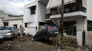 A woman walks between damaged cars following a storm at the village of Politika, on Evia island, northeast of Athens