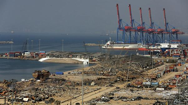 The port area lies in devastation following this week's massive explosion in the port of Beirut, Lebanon
