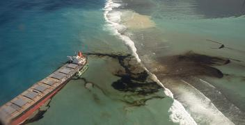 Oil leaks from the MV Wakashio, a bulk carrier ship that ran aground off the southeast coast of Mauritius