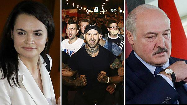 Belarus'taki seçimin adaylarından Sviatlana Tsikhanouskaya (solda), seçimi kazanan Aleksandr Lukaşenko (sağda)