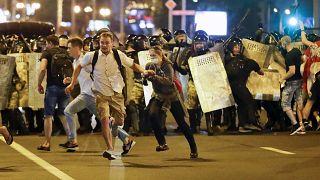 Evening protests in Minsk, Belarus,