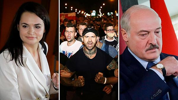 Clashes broke out as early election results indicated Alexander Lukashenko (right) had won in a landslide against Sviatlana Tsikhanouskaya (left)