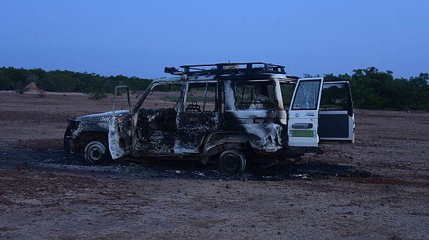 Le 4x4 de l'ONG humanitaire Acted sur les lieux du drame au Niger, le 9 août 2020