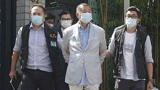 Jimmy Lai, lors de son arrestation, le 10 août 2020 à Hong Kong