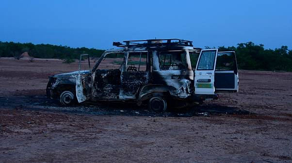 This August 9, 2020 image shows the wreckage of the car where six French aid workers, their local guide and the driver were killed by unidentified gunmen in Niger.