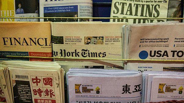 كشك لبيع الصحف في هونغ كونغ في 15 يوليو 2020