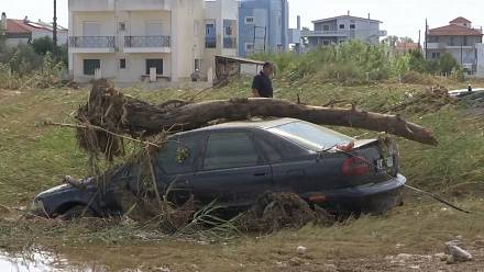 Residents of Greek island face storm and flooding aftermath