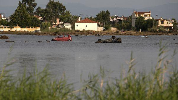 Inundaciones en la isla griega de Eubea