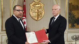 الرئيس التونسي قيس سعيد ورئيس الوزراء المقال هشام المشيشي