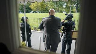 U.S. Secret Service Police stand outside the James Brady Press Briefing Room at the White House, Monday, Aug. 10, 2020.