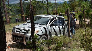 Pick-up de l'humanitaire français, Benoit Maria, où ce dernier a été tué par balles, dans la région de San Antonio Ilotenango au Guatemala, le 10 août 2020