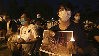 Hundreds of participants attend at Democracy Square in Taipei, Taiwan to mark the 31st anniversary of the Chinese military crackdown in Tiananmen Square