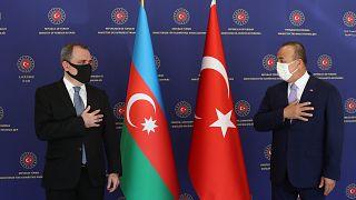 Türkiye Dışişleri Bakanı Mevlüt Çavuşoğlu ile Azerbaycan Dışişleri Bakanı Ceyhun Bayramov