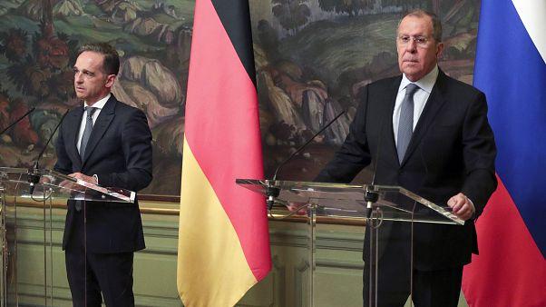 Главы МИД Германии и России Хайко Маас и Сергей Лавров на совместной пресс-конференции