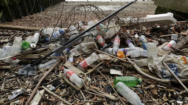 2018 file photo, plastic bottles and other plastics including a mop, lie washed up on the north bank of the River Thames in London.