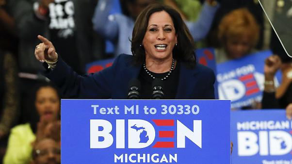 In this March 9, 2020, file photo, Sen. Kamala Harris, D-Calif., speaks at a campaign rally for Democratic presidential candidate former Vice President Joe Biden in Detroit.