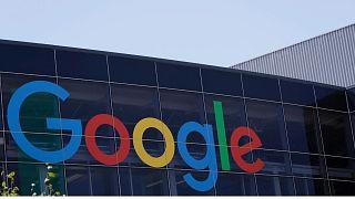 the Google logo at the company's headquarters