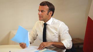 الرئيس الفرنسي إيمانويل ماكرون خلال مؤتمر المانحين لدعم بيروت