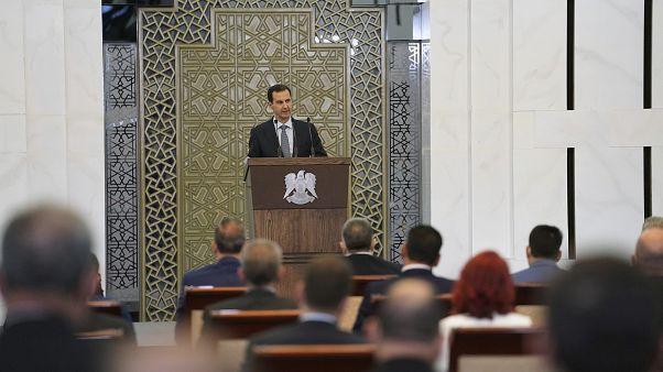 الرئيس السوري بشار الأسد  يلقي كلمة أمام مجلس الشعب الجديد