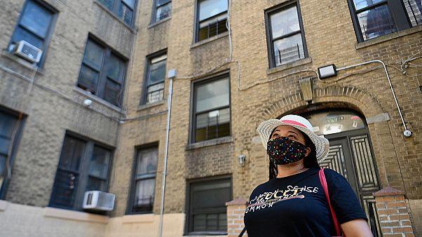Yudy Ramirez, qui a perdu son travail en mars dernier, ne peut plus payer le loyer de son appartement dans le Bronx à New York, le 10 aout 2020