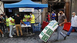 Lebensmittelspenden in Beirut am 11. August 2020.