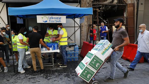 Lebensmittelspenden in Beirut am 11. August 2020.