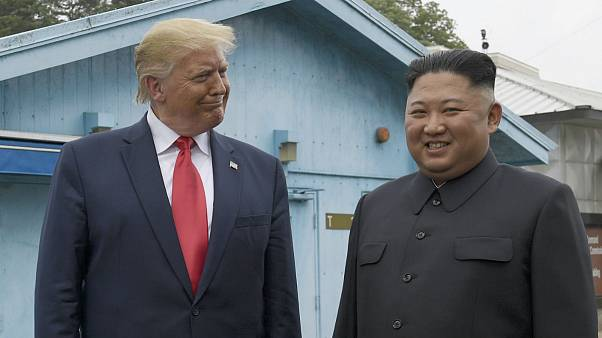 President Donald Trump meets with North Korean leader Kim Jong Un at the border village of Panmunjom in the Demilitarized Zone, South Korea