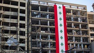 Un edificio danneggiato dall'esplosione del 4 agosto a Beirut