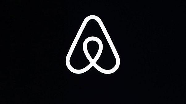 Archives : le logo d'Airbnb à San Francisco le 22 février 2020