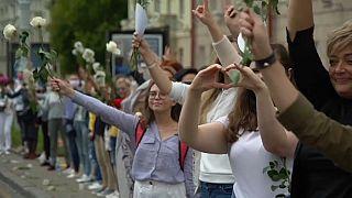 women demonstrating in Belarus