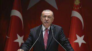 الرئيس التركي رجب طيب أردوغان يلقي أمام أعضاء في حزب العدالة والتنمية الحاكم، 13 آب/أغسطس 2020.