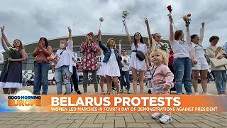 Belarusian women protesting in Minsk.