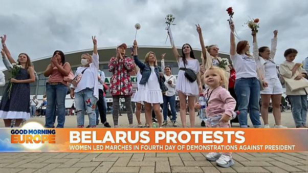 Thousands swarm Belarus streets to protest police violence during peaceful demonstrations