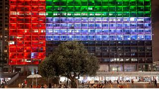 Tel Aviv City Hall is lit up with the flags of the United Arab Emirates