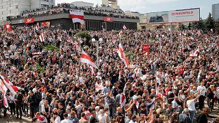 Tüntetés Minszkben 2020. augusztus 15-én
