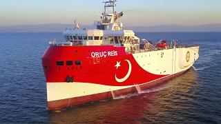 In this photo made from a video provided by the Turkish Energy Ministry on Wednesday, Aug. 12, 2020, Turkey's research vessel, Oruc Reis, in the Mediterranean.