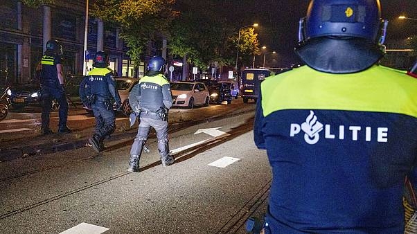 Police officers from the Dutch Mobile Unit intervened during a second day of riots late on Thursday.