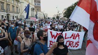 Protestas en Varsovia contra Lukashenko