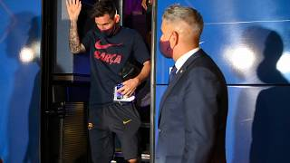 Barcelona's Argentinian forward Lionel Messi arrives at the team's hotel after being defeated during the UEFA Champions League.