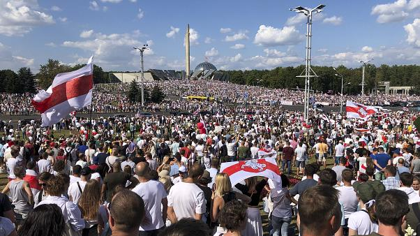 Belarusian opposition supporters rally in the centre of Minsk, Belarus, Sunday, Aug. 16, 2020.